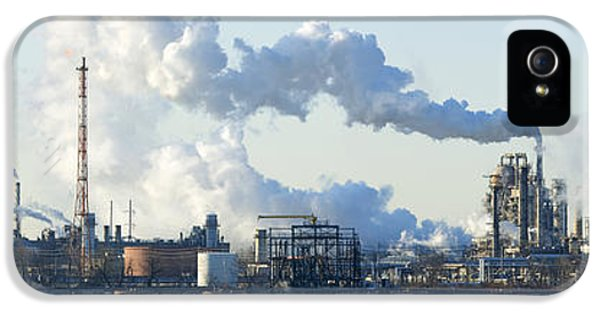 Fuel And Power Generation iPhone 5 Cases - Oil Refinery At The Waterfront iPhone 5 Case by Panoramic Images
