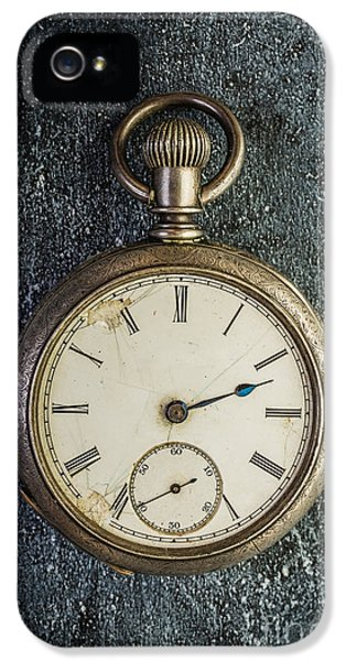 Clock iPhone 5 Cases - Old Antique Pocket Watch iPhone 5 Case by Edward Fielding