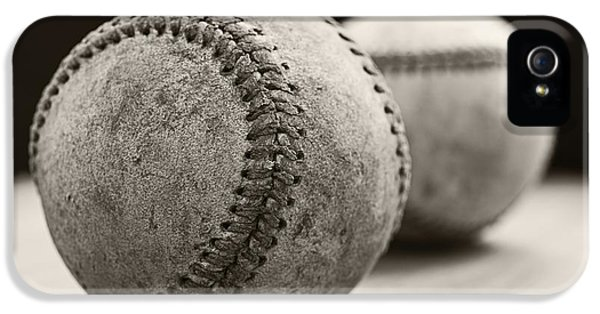 Equipment iPhone 5 Cases - Old Baseballs iPhone 5 Case by Edward Fielding