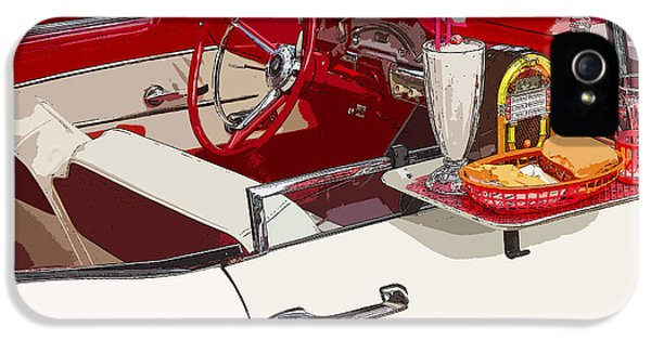 Drive iPhone 5 Cases - Old Car at Drive In Restaurant iPhone 5 Case by Keith Webber Jr