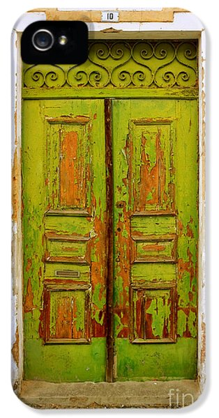 Corroded iPhone 5 Cases - Old Green Door iPhone 5 Case by Carlos Caetano