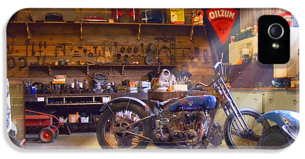 Pipes iPhone 5 Cases - Old Motorcycle Shop 2 iPhone 5 Case by Mike McGlothlen