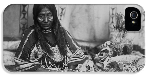 Native American Woman iPhone 5 Cases - Old Piegan woman circa 1910 iPhone 5 Case by Aged Pixel