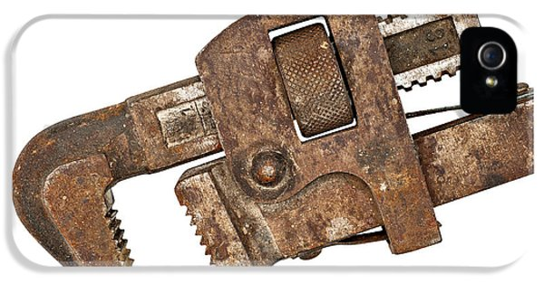 Work Tool iPhone 5 Cases - Old Rusty Pipe Wrench iPhone 5 Case by Donald  Erickson