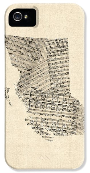 Canada iPhone 5 Cases - Old Sheet Music Map of British Columbia Canada iPhone 5 Case by Michael Tompsett