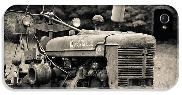 Equipment iPhone 5 Cases - Old Tractor Black and White Square iPhone 5 Case by Edward Fielding