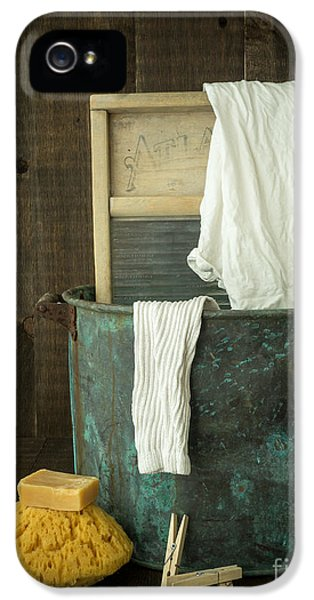 Indoors iPhone 5 Cases - Old Washboard Laundry Days iPhone 5 Case by Edward Fielding