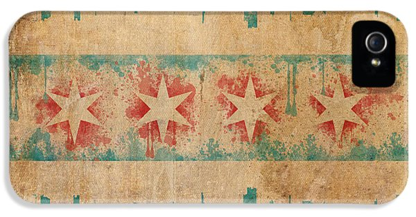 Graffiti iPhone 5 Cases - Old World Chicago Flag iPhone 5 Case by Mike Maher