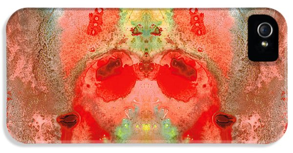 Medicine iPhone 5 Cases - Om - Red Meditation - Abstract Art By Sharon Cummings iPhone 5 Case by Sharon Cummings