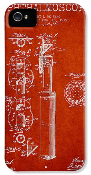Medical iPhone 5 Cases - Ophthalmoscope Patent from 1915 - Red iPhone 5 Case by Aged Pixel