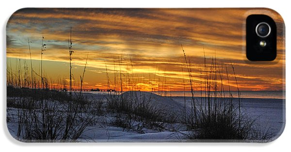 Micdesigns iPhone 5 Cases - Orange Clouded Sunrise over the Pier iPhone 5 Case by Michael Thomas