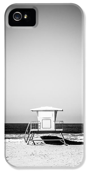 Shack iPhone 5 Cases - Orange County Lifeguard Tower Black and White Picture iPhone 5 Case by Paul Velgos