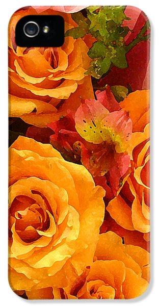 Roses iPhone 5 Cases - Orange Roses iPhone 5 Case by Amy Vangsgard