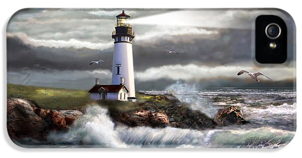 Greeting iPhone 5 Cases - Oregon Lighthouse Beam of hope iPhone 5 Case by Gina Femrite