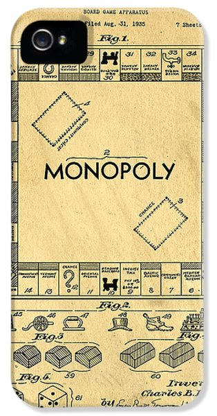 Play iPhone 5 Cases - Original Patent for Monopoly Board Game iPhone 5 Case by Edward Fielding