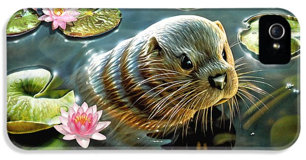 Puzzles iPhone 5 Cases - Otter in Water Lilies iPhone 5 Case by Adrian Chesterman