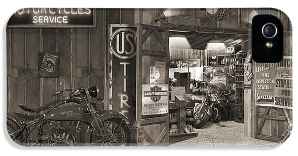 Pipes iPhone 5 Cases - Outside The Old Motorcycle Shop - Spia iPhone 5 Case by Mike McGlothlen