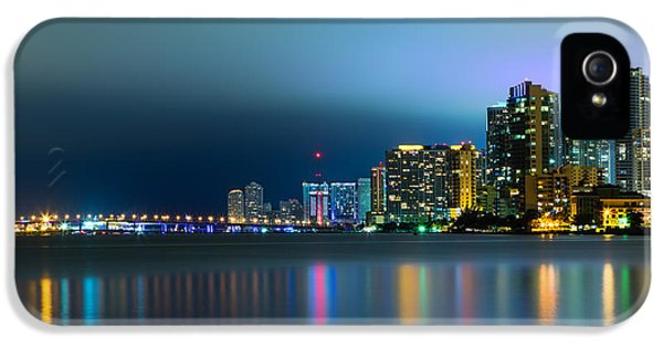 Reflection iPhone 5 Cases - Overcast Miami Night Skyline iPhone 5 Case by Andres Leon