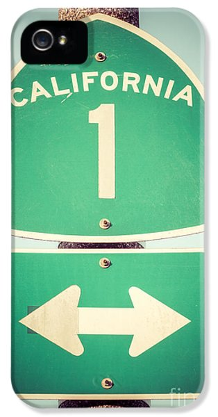 Poles iPhone 5 Cases - Pacific Coast Highway Sign California State Route 1  iPhone 5 Case by Paul Velgos