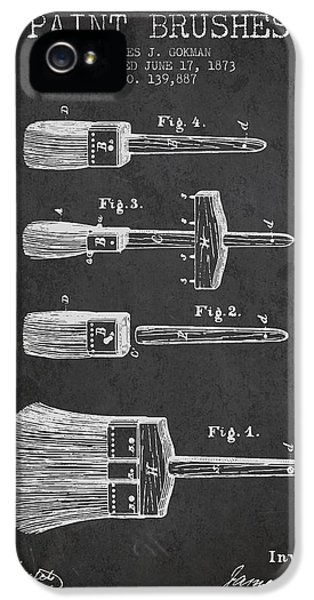 Painter iPhone 5 Cases - Paint brushes Patent from 1873 - Charcoal iPhone 5 Case by Aged Pixel