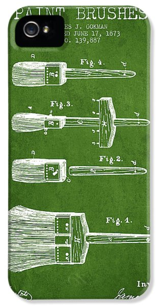 Painter iPhone 5 Cases - Paint brushes Patent from 1873 - Green iPhone 5 Case by Aged Pixel