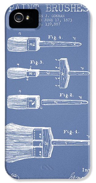 Painter iPhone 5 Cases - Paint brushes Patent from 1873 - Light Blue iPhone 5 Case by Aged Pixel