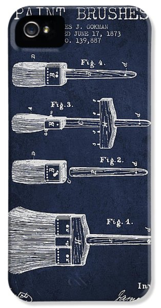 Painter iPhone 5 Cases - Paint brushes Patent from 1873 - Navy Blue iPhone 5 Case by Aged Pixel