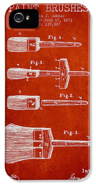 Painter iPhone 5 Cases - Paint brushes Patent from 1873 - red iPhone 5 Case by Aged Pixel