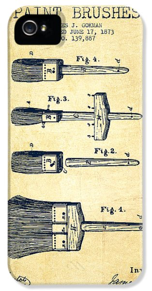 Painter iPhone 5 Cases - Paint brushes Patent from 1873 - Vintage iPhone 5 Case by Aged Pixel