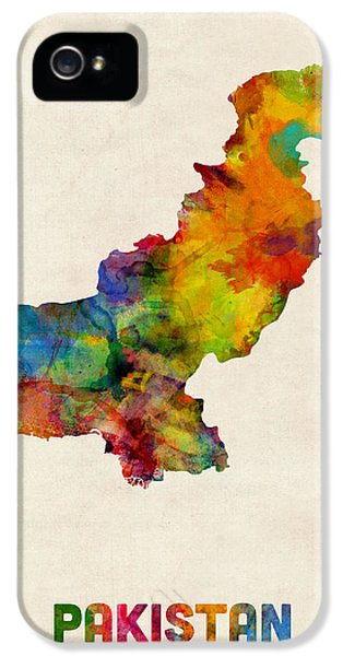 Islamabad iPhone 5 Cases - Pakistan Watercolor Map iPhone 5 Case by Michael Tompsett