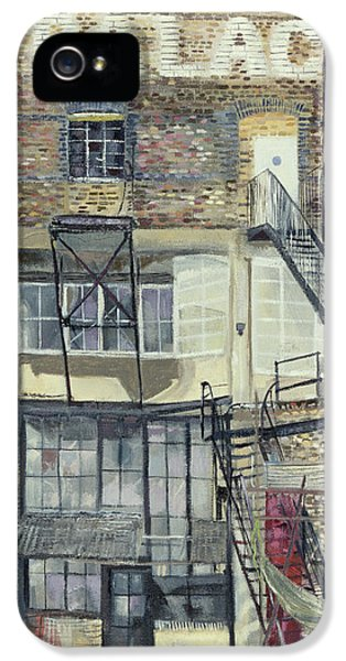 Industrial iPhone 5 Cases - Palace Wharf, Rainville Road Oil Pastel On Paper iPhone 5 Case by Sophia Elliot