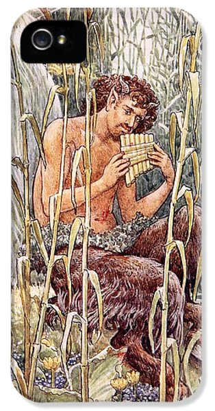 Blowing iPhone 5 Cases - Pan Playing His Pipes iPhone 5 Case by Walter Crane