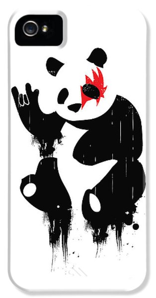 Rock And Roll iPhone 5 Cases - Panda Rocks iPhone 5 Case by Budi Satria Kwan