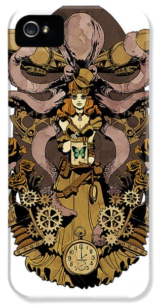 Steampunk iPhone 5 Cases - Papillon mecaniques iPhone 5 Case by Brian Kesinger