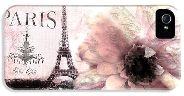 Paris Dreamy Eiffel Tower Montage - Paris Romantic Pink Sepia Eiffel Tower And Flower French Script IPhone 5 / 5s Case by Kathy Fornal