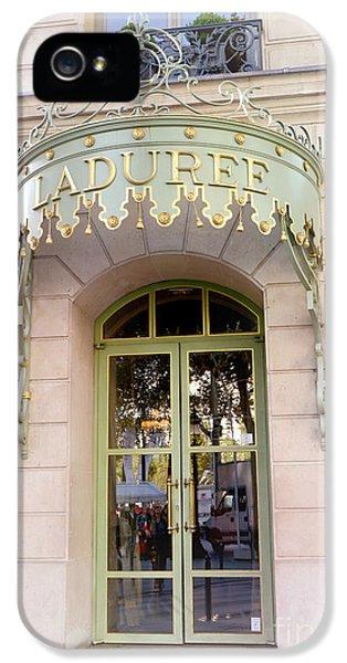 Eatery iPhone 5 Cases - Paris Laduree Dreamy Pink Door Architecture - Paris Laduree Pink Pastel Architecture Door Art Deco iPhone 5 Case by Kathy Fornal