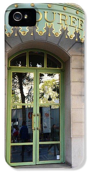 Eatery iPhone 5 Cases - Paris Laduree Fine Art Door Print - Paris Laduree Green and Gold Door Sign With Lanterns iPhone 5 Case by Kathy Fornal