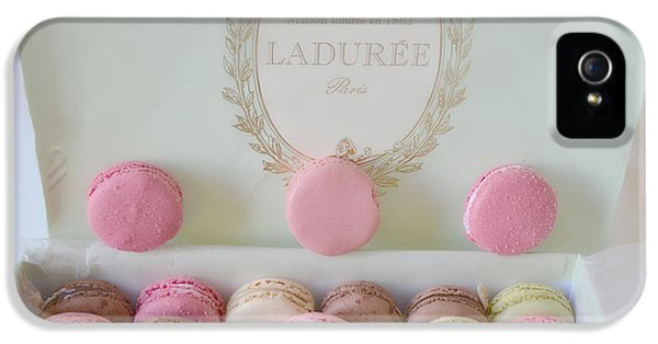 Eatery iPhone 5 Cases - Paris Laduree Pastel Macarons - Paris Laduree Box - Paris Dreamy Pink Macarons Fine Art Photography iPhone 5 Case by Kathy Fornal