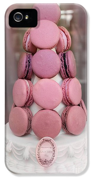 Eatery iPhone 5 Cases - Paris Laduree Pink Macarons - Paris Pink Laduree Window Display - Paris Pink Macarons Window Display iPhone 5 Case by Kathy Fornal