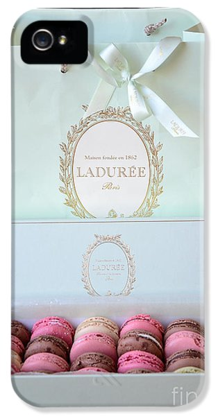 Eatery iPhone 5 Cases - Paris Laduree Macarons - Dreamy Laduree Box of French Macarons With Laduree Bag  iPhone 5 Case by Kathy Fornal
