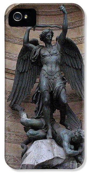 Archangel iPhone 5 Cases - Paris - Saint Michael Archangel Statue Monument - Saint Michael Slaying The Devil iPhone 5 Case by Kathy Fornal