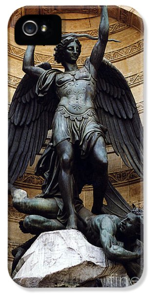 Archangel iPhone 5 Cases - Paris-Saint Michael Archangel Statue Monument - St. Michael Fountain Square iPhone 5 Case by Kathy Fornal