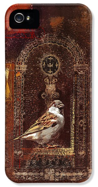 Passeridae iPhone 5 Cases - Patient Sparrow iPhone 5 Case by Dragan Petrovic Pavle