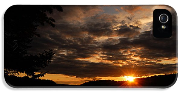 Caribou iPhone 5 Cases - Paull Lake Sunset iPhone 5 Case by Larry Ricker