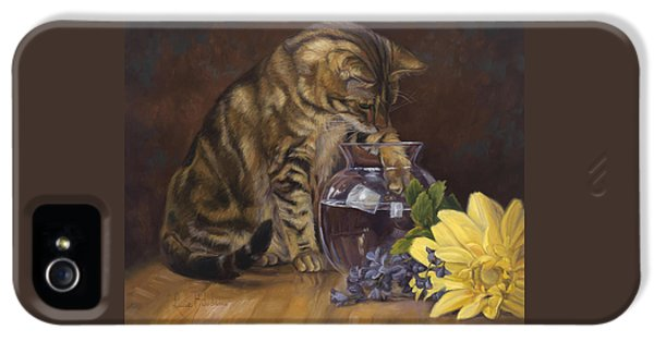 Indoors iPhone 5 Cases - Paw in the Vase iPhone 5 Case by Lucie Bilodeau