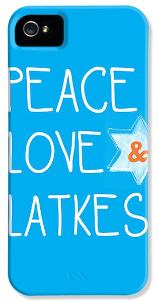 Judaica iPhone 5 Cases - Peace Love And Latkes iPhone 5 Case by Linda Woods