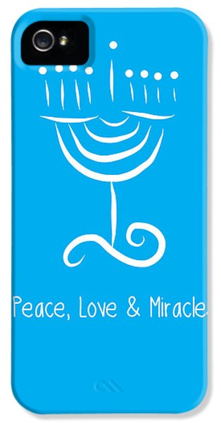 Judaica iPhone 5 Cases - Peace Love and Miracles with Menorah iPhone 5 Case by Linda Woods