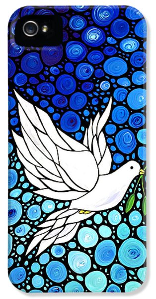 Mosaic iPhone 5 Cases - Peaceful Journey - White Dove Peace Art iPhone 5 Case by Sharon Cummings