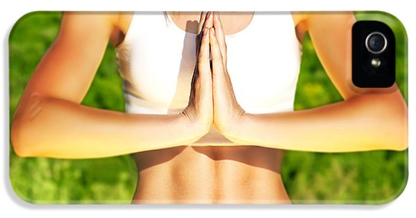Greet iPhone 5 Cases - Peaceful yoga outdoor iPhone 5 Case by Anna Omelchenko