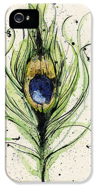 Decorative Art iPhone 5 Cases - Peacock Feather iPhone 5 Case by Mark M  Mellon